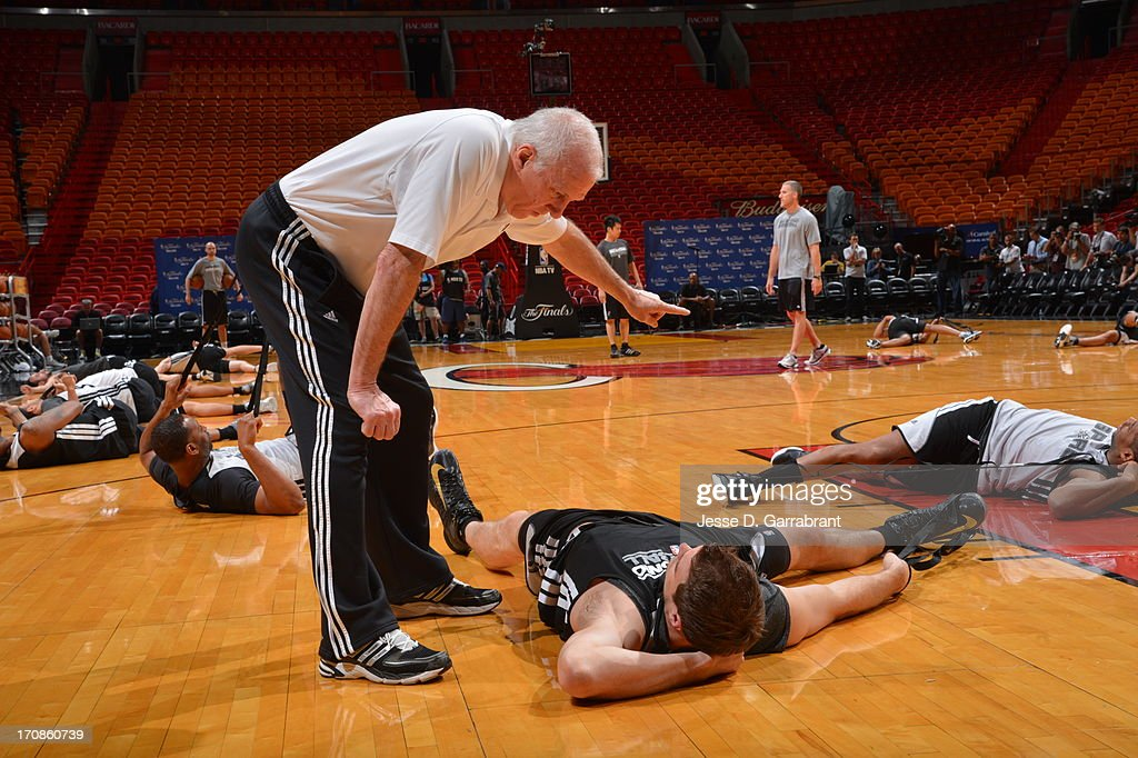 Gregg Popovich, head coach of the San Antonio Spurs runs practice as part of the 2013 NBA Finals on June 19, 2013 at American Airlines Arena in Miami, Florida.
