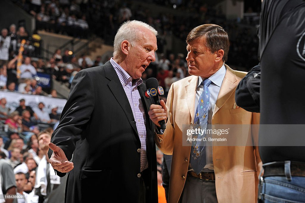 <a gi-track='captionPersonalityLinkClicked' href=/galleries/search?phrase=Gregg+Popovich&family=editorial&specificpeople=202904 ng-click='$event.stopPropagation()'>Gregg Popovich</a>, Head Coach of the San Antonio Spurs speaks with TNT sideline reporter <a gi-track='captionPersonalityLinkClicked' href=/galleries/search?phrase=Craig+Sager&family=editorial&specificpeople=617407 ng-click='$event.stopPropagation()'>Craig Sager</a> after the San Antonio Spurs defeated the Oklahoma City Thunder in Game Two of the Western Conference Finals during the 2012 NBA Playoffs at AT&T Center on May 29, 2012 in San Antonio, Texas.
