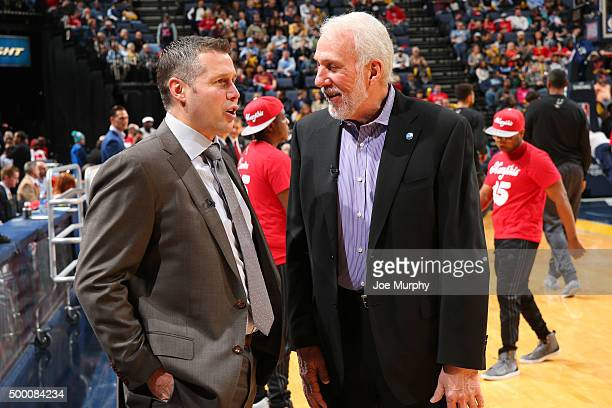 Gregg Popovich of the San Antonio Spurs and David Joerger of the Memphis Grizzlies talk before the game on December 3 2015 at FedExForum in Memphis...