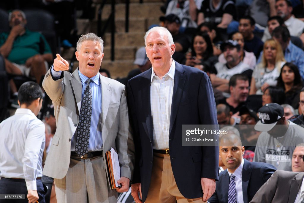 Gregg Popovich of the San Antonio Spurs calls a play from the bench against the Golden State Warriors on March 20, 2013 at the AT&T Center in San Antonio, Texas.