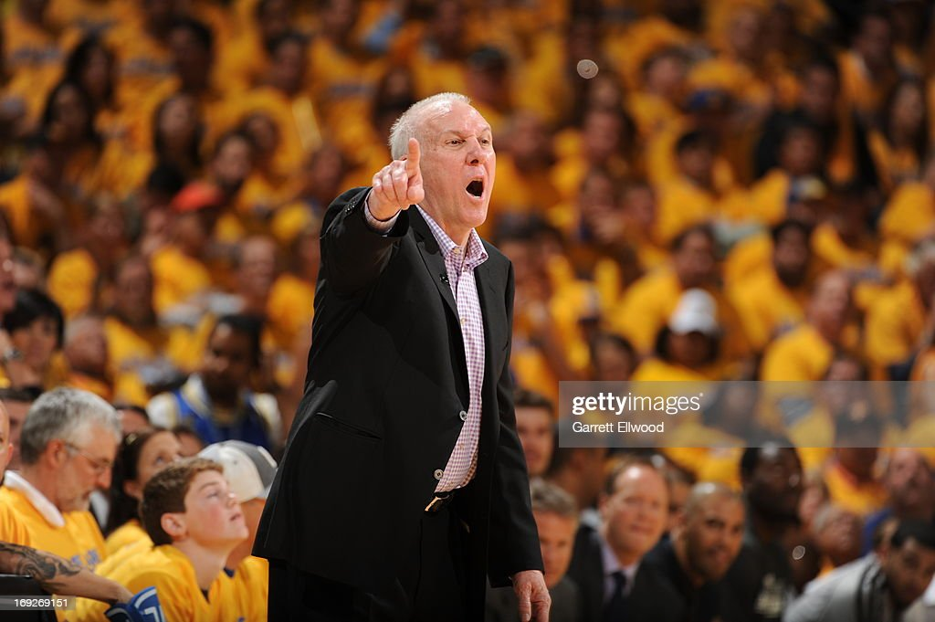 <a gi-track='captionPersonalityLinkClicked' href=/galleries/search?phrase=Gregg+Popovich&family=editorial&specificpeople=202904 ng-click='$event.stopPropagation()'>Gregg Popovich</a> of the San Antonio Spurs calls out a play during the game against the Golden State Warriors in Game Three of the Western Conference Semifinals during the 2013 NBA Playoffs on May 10, 2013 at the Oracle Arena in Oakland, California.
