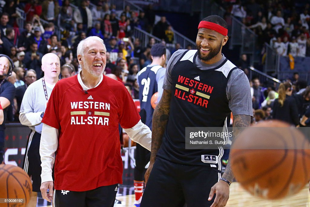 <a gi-track='captionPersonalityLinkClicked' href=/galleries/search?phrase=Gregg+Popovich&family=editorial&specificpeople=202904 ng-click='$event.stopPropagation()'>Gregg Popovich</a> of the San Antonio Spurs coaches <a gi-track='captionPersonalityLinkClicked' href=/galleries/search?phrase=DeMarcus+Cousins&family=editorial&specificpeople=5792008 ng-click='$event.stopPropagation()'>DeMarcus Cousins</a> #15 of the Sacramento Kings during the NBA All-Star Practice as part of 2016 All-Star Weekend at the Ricoh Coliseum on February 13, 2016 in Toronto, Ontario, Canada.
