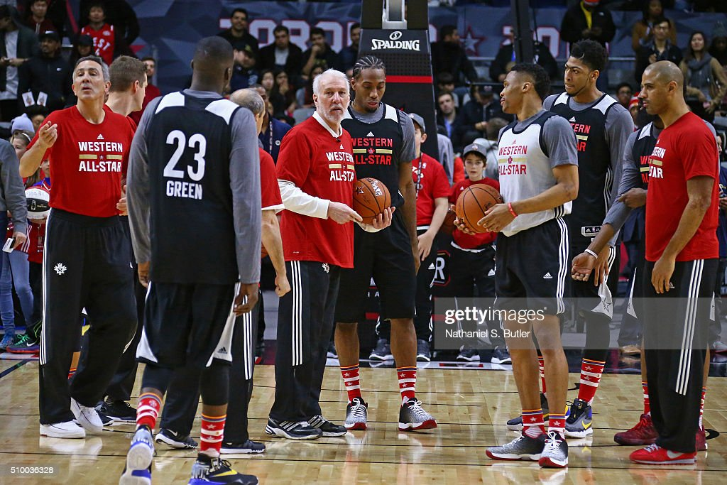 <a gi-track='captionPersonalityLinkClicked' href=/galleries/search?phrase=Gregg+Popovich&family=editorial&specificpeople=202904 ng-click='$event.stopPropagation()'>Gregg Popovich</a> of the San Antonio Spurs coaches during the NBA All-Star Practice as part of 2016 All-Star Weekend at the Ricoh Coliseum on February 13, 2016 in Toronto, Ontario, Canada.
