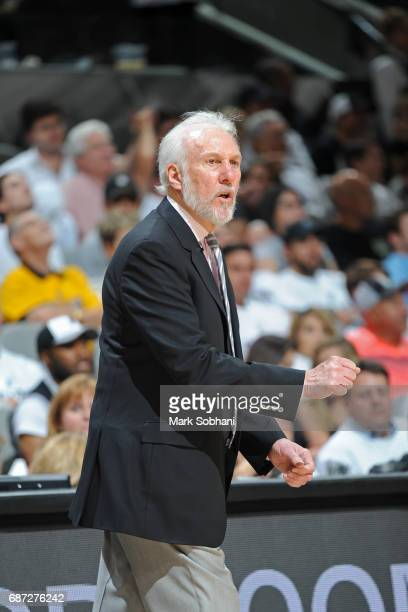 Gregg Popovich of the San Antonio Spurs coaches in Game Three of the Western Conference Finals against the Golden State Warriors during the 2017 NBA...