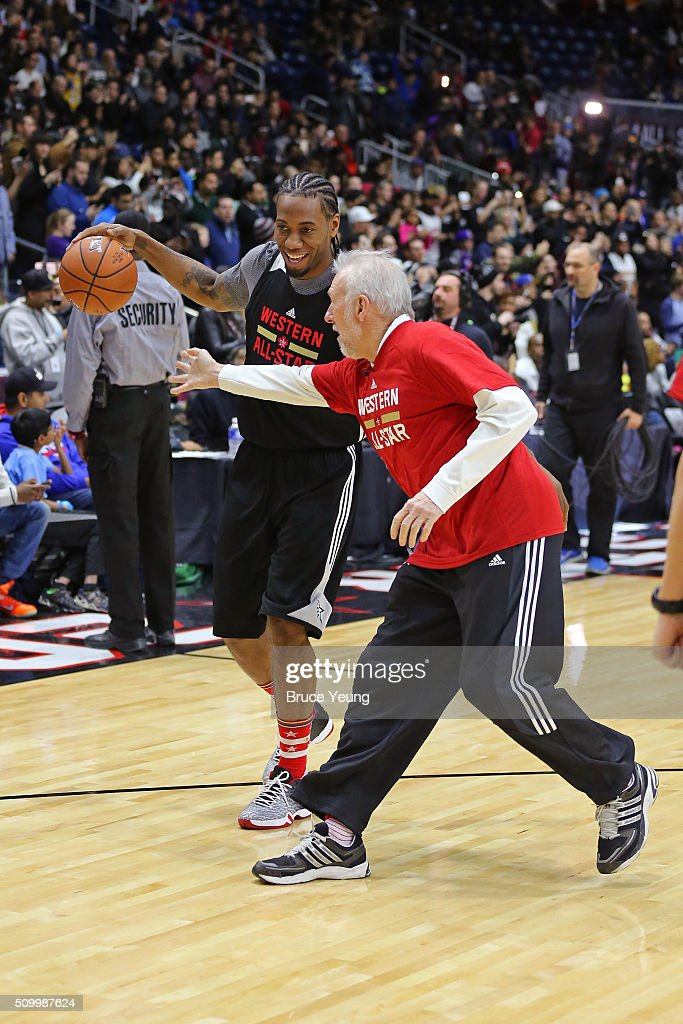 <a gi-track='captionPersonalityLinkClicked' href=/galleries/search?phrase=Gregg+Popovich&family=editorial&specificpeople=202904 ng-click='$event.stopPropagation()'>Gregg Popovich</a> of the San Antonio Spurs coaches <a gi-track='captionPersonalityLinkClicked' href=/galleries/search?phrase=Kawhi+Leonard&family=editorial&specificpeople=6691012 ng-click='$event.stopPropagation()'>Kawhi Leonard</a> #2 during the NBA All-Star Practice as part of 2016 All-Star Weekend at the Ricoh Coliseum on February 13, 2016 in Toronto, Ontario, Canada.