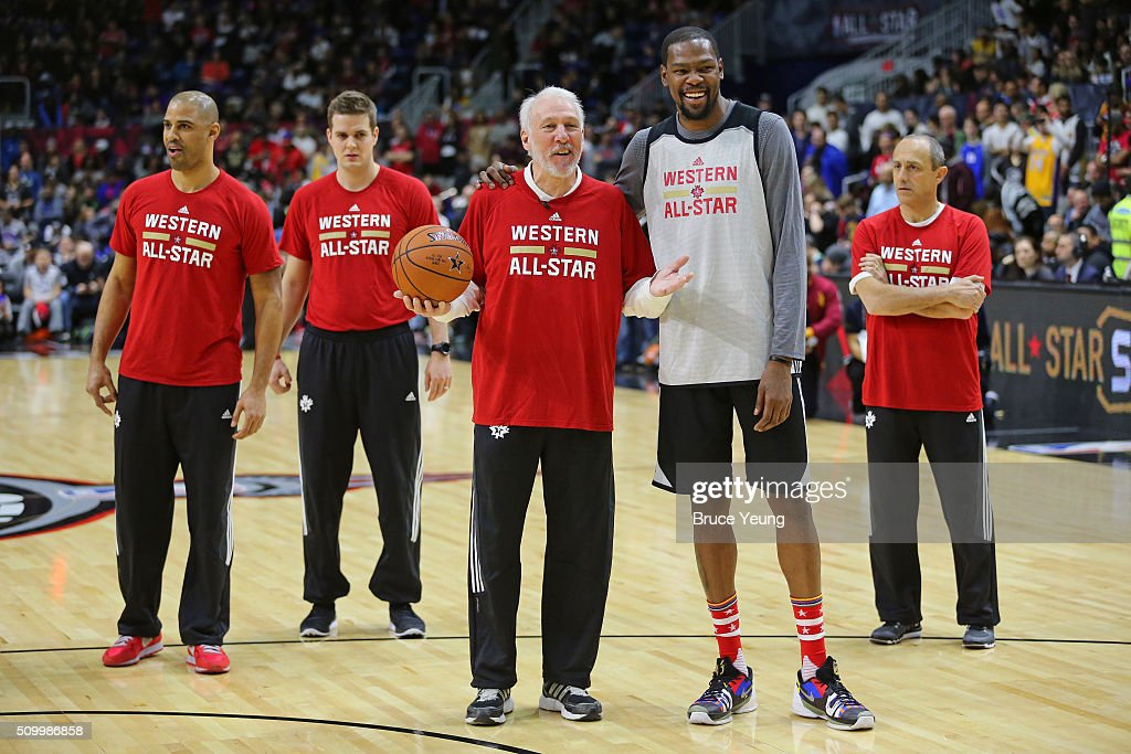<a gi-track='captionPersonalityLinkClicked' href=/galleries/search?phrase=Gregg+Popovich&family=editorial&specificpeople=202904 ng-click='$event.stopPropagation()'>Gregg Popovich</a> of the San Antonio Spurs coaches <a gi-track='captionPersonalityLinkClicked' href=/galleries/search?phrase=Kevin+Durant&family=editorial&specificpeople=3847329 ng-click='$event.stopPropagation()'>Kevin Durant</a> #35 of the Oklahoma City Thunder during the NBA All-Star Practice as part of 2016 All-Star Weekend at the Ricoh Coliseum on February 13, 2016 in Toronto, Ontario, Canada.