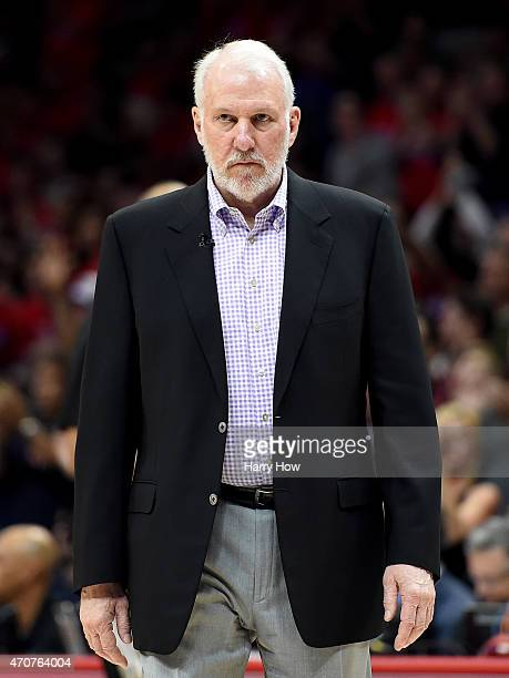 Gregg Popovich of the San Antonio Spurs in the game against Los Angeles Clippers during Game Two of the Western Conference quarterfinals of the 2015...