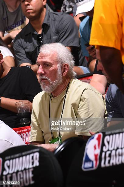 Gregg Popovich of the San Antonio Spurs looks on from the stands during the 2017 Las Vegas Summer League game against the Portland Trail Blazers on...