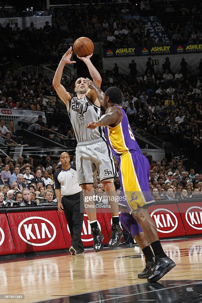 Gregg Popovich of the San Antonio Spurs shoots the ball against the Los Angeles Lakers in Game One of the 2013 NBA Playoffs at the AT&T Center on April 21, 2013 in San Antonio, Texas.