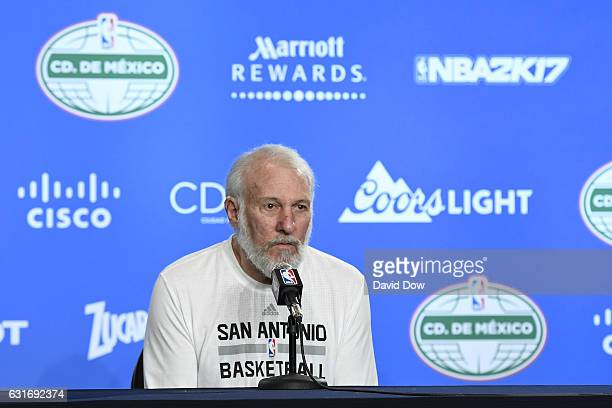 Gregg Popovich of the San Antonio Spurs talks to the media during a press conference before the game against the Phoenix Suns as part of NBA Global...