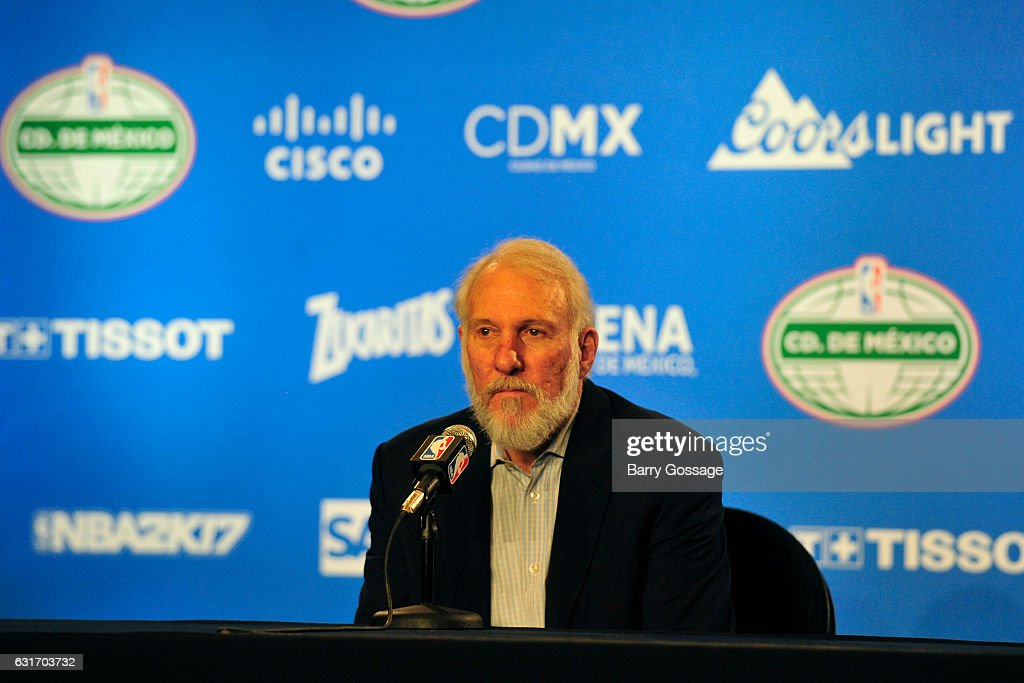 Gregg Popovich of the San Antonio Spurs talks to the media during a press conference after the game against the Phoenix Suns as part of NBA Global Games at Arena Ciudad de Mexico on January 14, 2017 in Mexico City, Mexico.