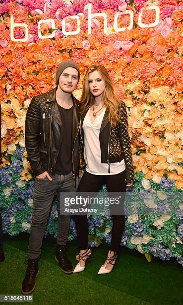 Gregg Sulkin and Bella Thorne attend the boohoocom Flagship LA Pop Up Store with opening party fueled by CIROC UltraPremium Vodka on April 1 2016 in...