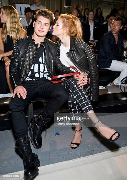 Gregg Sulkin and Bella Thorne attend the Diesel Black Gold fashion show during Spring 2016 New York Fashion Week at Spring Studios on September 15...