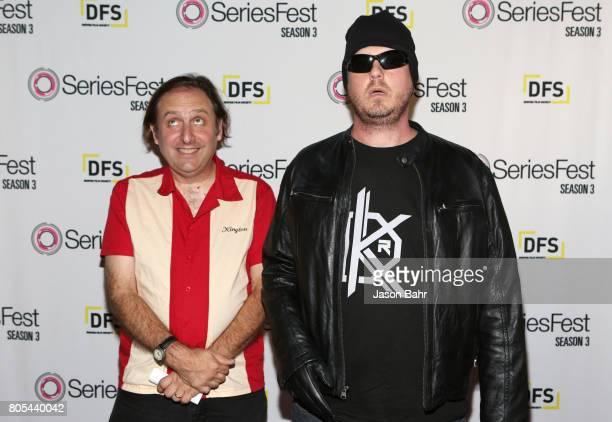 Gregg Turkington and Tim Heidecker arrive to Adult Swim's Decker Season 5 Finale during SeriesFest Season 3 at Sie FilmCenter on July 1 2017 in...