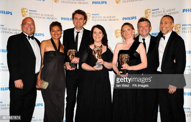Gregg Wallace Monica Galetti David Ambler Karen Ross Antonia Lloyd Jamie Munro and Michel Roux Jnr with the Features award received for Masterchef...