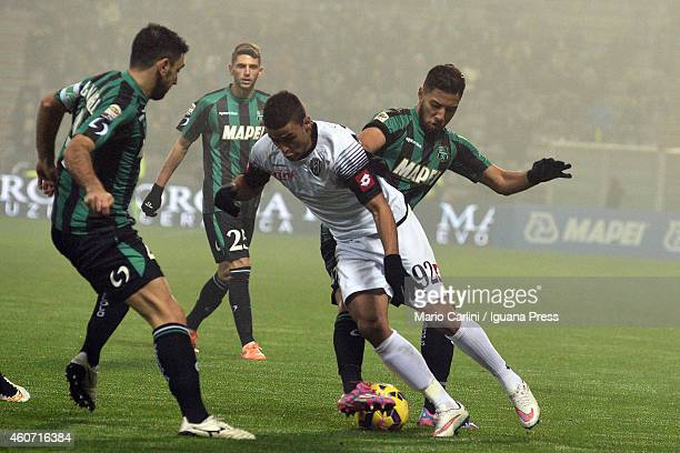 Gregoire Andre Defrel of AC Cesena in action during the Serie A match betweeen US Sassuolo Calcio and AC Cesena on December 20 2014 in Reggio...