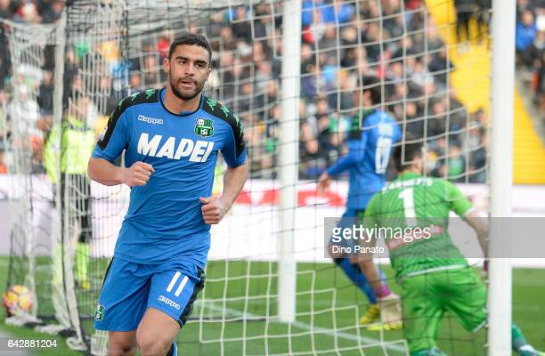 Gregoire Andre' Defrel of US Sassuolo celebrtates after scoring his team's first goal during the Serie A match between Udinese Calcio and US Sassuolo...