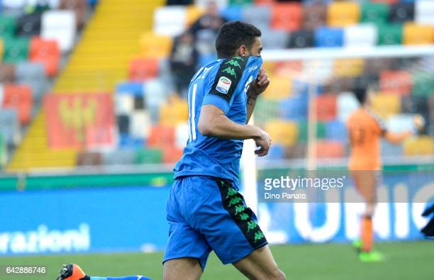 Gregoire Andre' Defrel of US Sassuolo celebrtates after scoring his team's second goal during the Serie A match between Udinese Calcio and US...