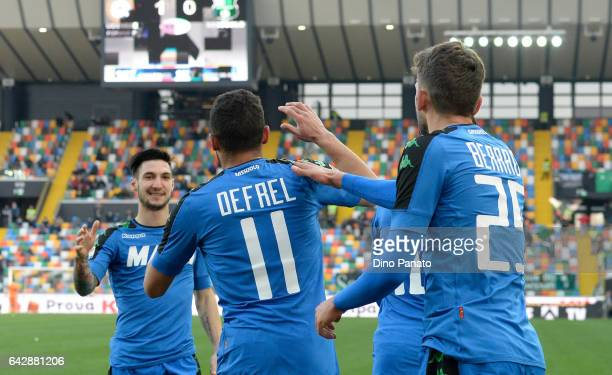 Gregoire Andre' Defrel of US Sassuolo celebrtates with his team mate's after scoring his team's first goal during the Serie A match between Udinese...