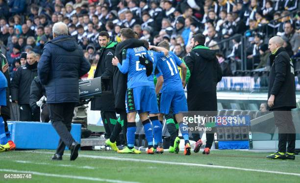 Gregoire Andre' Defrel of US Sassuolo celebrtates with his team mate's after scoring his team's second goal during the Serie A match between Udinese...