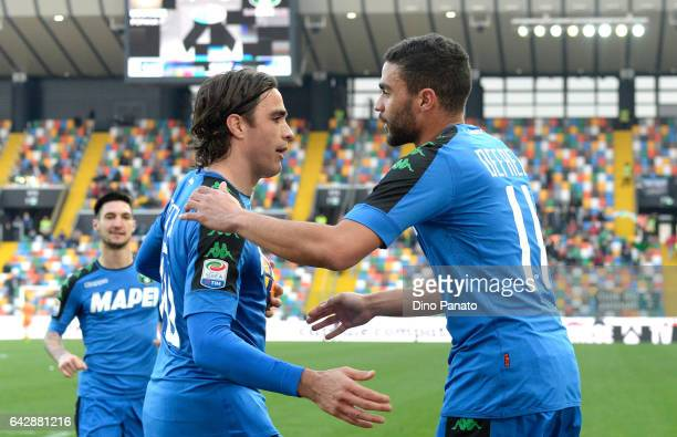 Gregoire Andre' Defrel of US Sassuolo celebrtates with his team's mate Alessandro Matri after scoring his team's first goal during the Serie A match...