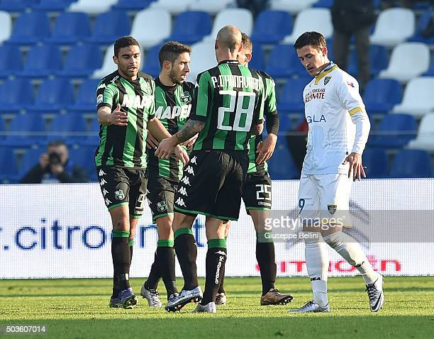 Gregoire Defrel of Sassuolo celebrates after scoring the goal 11 during the Serie A match between US Sassuolo Calcio and Frosinone Calcio at Mapei...