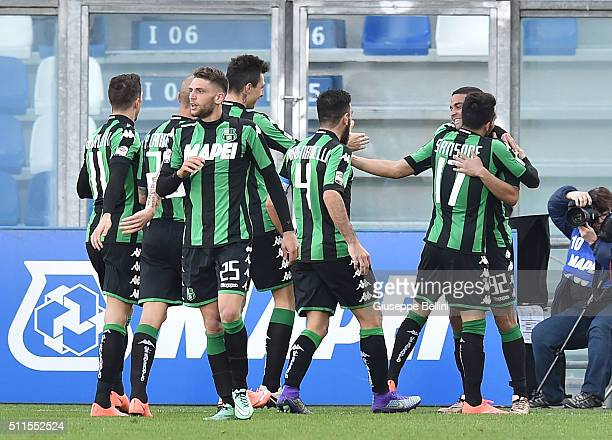 Gregoire Defrel of Sassuolo celebrates after scoring the goal 21 during the Serie A match between US Sassuolo Calcio and Empoli FC at Mapei Stadium...