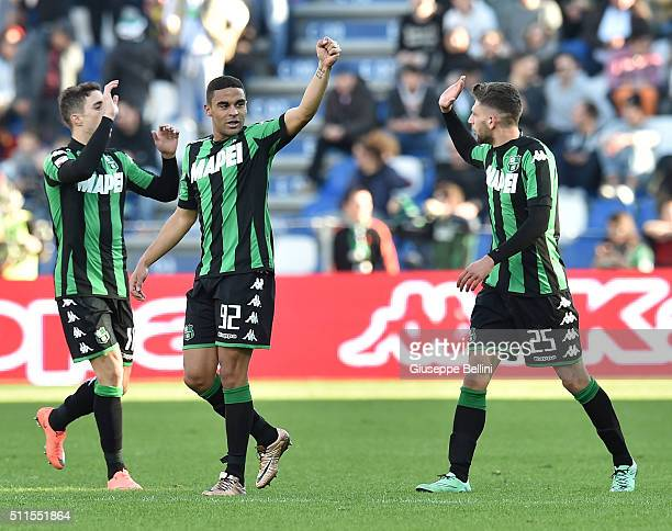 Gregoire Defrel of Sassuolo celebrates after scoring the goal 31 during the Serie A match between US Sassuolo Calcio and Empoli FC at Mapei Stadium...