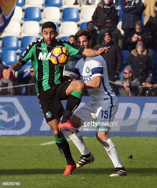 Gregoire Defrel of Sassuolo during the Serie A match between US Sassuolo and FC Internazionale at Mapei Stadium Citta' del Tricolore on December 18...