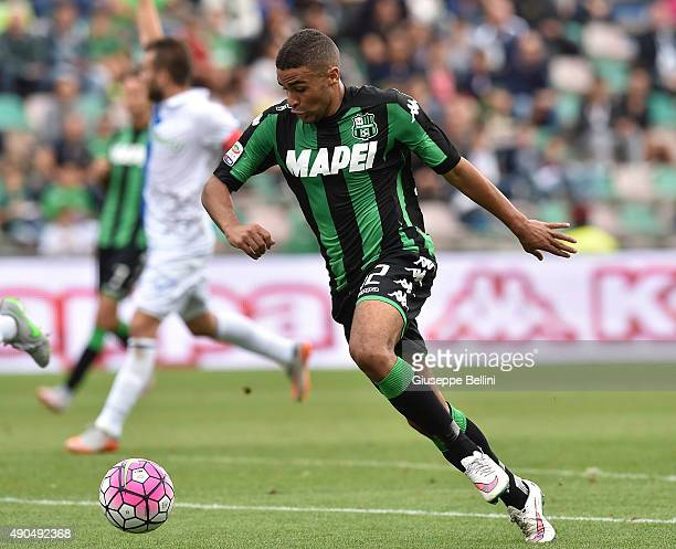 Gregoire Defrel of Sassuolo in action during the Serie A match between US Sassuolo Calcio and AC Chievo Verona at Mapei Stadium Città del Tricolore...