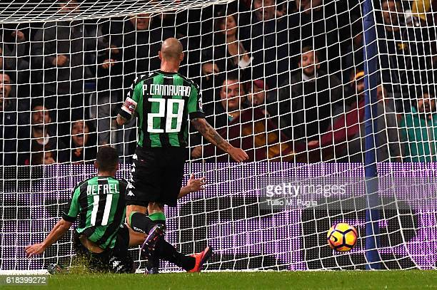 Gregoire Defrel of Sassuolo saves a goal during the Serie A match between US Sassuolo and AS Roma at Mapei Stadium Citta' del Tricolore on October 26...