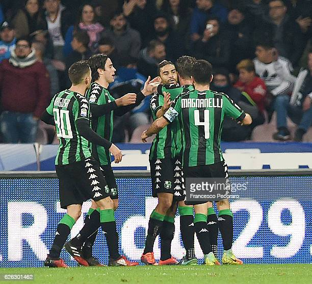 Gregoire Defrel of US Sassuolo and US Sassuolo players celebrates after Gregoire Defrel scores goal 11 during the Serie A match between SSC Napoli...