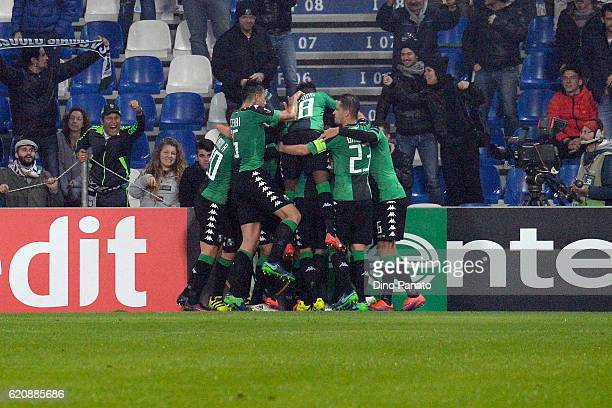 Gregoire Defrel of US Sassuolo celebrates after scoring his opening goal during the UEFA Europa League match between US Sassuolo Calcio and SK Rapid...