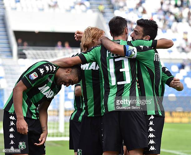 Gregoire Defrel of US Sassuolo celebrates after scoring the goal 20 during the Serie A match between US Sassuolo and Genoa CFC at Mapei Stadium...