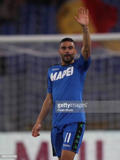 Gregoire Defrel of US Sassuolo celebrates after scoring the opening goal during the Serie A match between AS Roma and US Sassuolo at Stadio Olimpico...