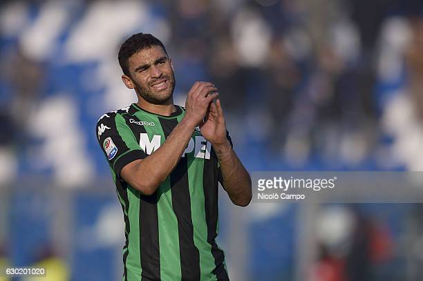 Gregoire Defrel of US Sassuolo gesturesat the end of the Serie A football match between US Sassuolo and FC Internazionale FC Internazionale wins 10...