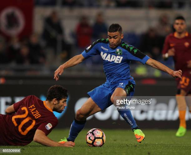 Gregoire Defrel of US Sassuolo in action during the Serie A match between AS Roma and US Sassuolo at Stadio Olimpico on March 19 2017 in Rome Italy