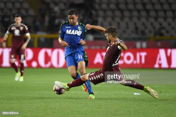 Gregoire Defrel of US Sassuolo in action during the Serie A match between FC Torino and US Sassuolo at Stadio Olimpico di Torino on May 28 2017 in...