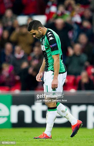 Gregoire Defrel of US Sassuolo reacts during the UEFA Europa League group F match between Athletic Club and US Sassuolo Calcio at the Estadio de San...