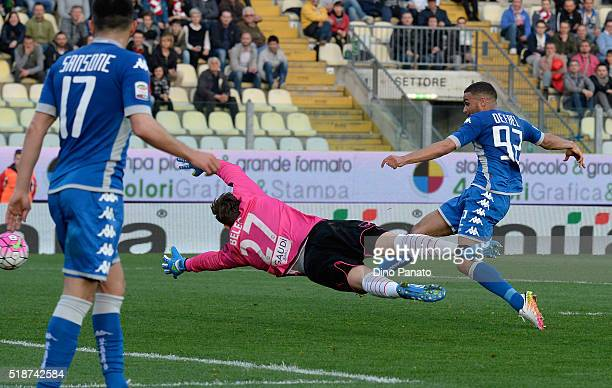 Gregoire Defrel of US Sassuolo scores his team's second goal during the Serie A match between Carpi FC and US Sassuolo Calcio at Alberto Braglia...