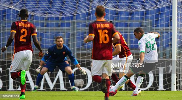 Gregoire Defrel of US Sassuolo scores the opening goal during the Serie A match between AS Roma and US Sassuolo Calcio at Stadio Olimpico on...