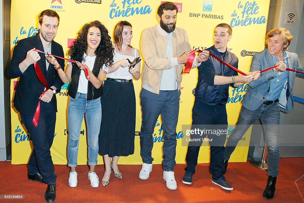 Gregoire Leprince Ringuet, Sabrina Ouazani, Elodie Bouchez, Ramzy Bedia, Arthur Dupont and Pascal Demolon attend the 32nd 'Fete du Cinema' launch at UGC Cine Cite Bercy on June 26, 2016 in Paris, France.