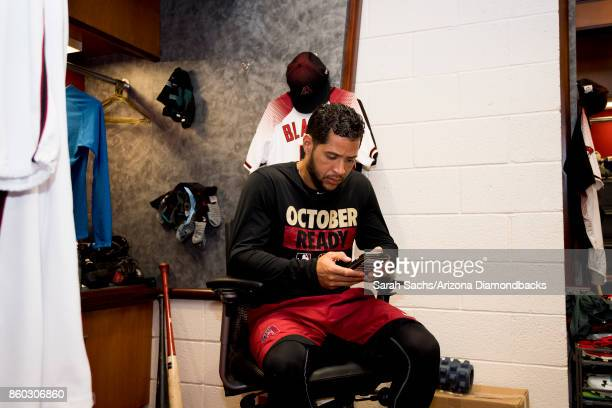 Gregor Blanco of the Arizona Diamondbacks hangs out in the clubhouse the day before game three of the National League Division Series between the Los...