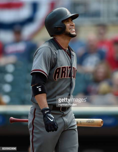 Gregor Blanco of the Arizona Diamondbacks reacts to striking out against the Minnesota Twins during the ninth inning of the game on August 20 2017 at...