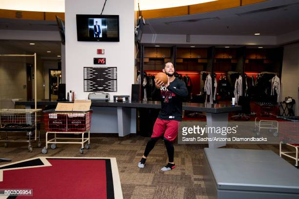 Gregor Blanco of the Arizona Diamondbacks shoots some hoops in the clubhouse the day before game three of the National League Division Series between...