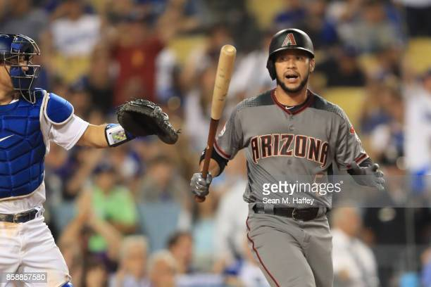 Gregor Blanco of the Arizona Diamondbacks strike out during the ninth inning against the Los Angeles Dodgers in game two of the National League...