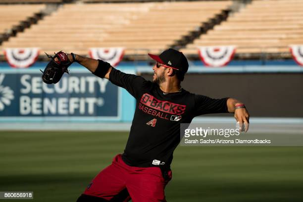Gregor Blanco of the Arizona Diamondbacks works out the day before Game One of the National League Division Series at Dodger Stadium on October 5...