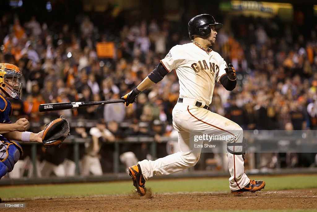 <a gi-track='captionPersonalityLinkClicked' href=/galleries/search?phrase=Gregor+Blanco&family=editorial&specificpeople=4137600 ng-click='$event.stopPropagation()'>Gregor Blanco</a> #7 of the San Francisco Giants bats against the New York Mets at AT&T Park on July 8, 2013 in San Francisco, California.