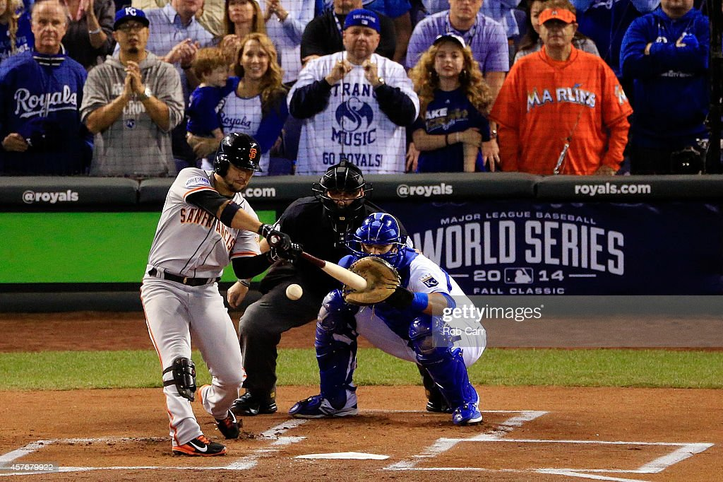 <a gi-track='captionPersonalityLinkClicked' href=/galleries/search?phrase=Gregor+Blanco&family=editorial&specificpeople=4137600 ng-click='$event.stopPropagation()'>Gregor Blanco</a> #7 of the San Francisco Giants hits a lead off home run in the first inning against the Kansas City Royals during Game Two of the 2014 World Series at Kauffman Stadium on October 22, 2014 in Kansas City, Missouri.