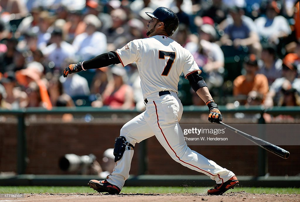 <a gi-track='captionPersonalityLinkClicked' href=/galleries/search?phrase=Gregor+Blanco&family=editorial&specificpeople=4137600 ng-click='$event.stopPropagation()'>Gregor Blanco</a> #7 of the San Francisco Giants hits an RBI double scoring pitcher Barry Zito from first base in the fifth inning against the Miami Marlins at AT&T Park on June 22, 2013 in San Francisco, California.